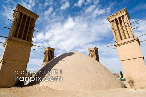 Rostam Giv Water Reservoir with Wind Towers for water cooling, Yazd, Iran
