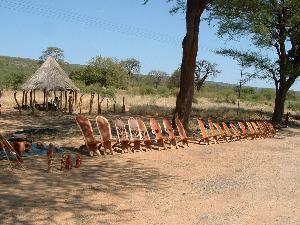 Crafts sold on road side in Zimbabawe