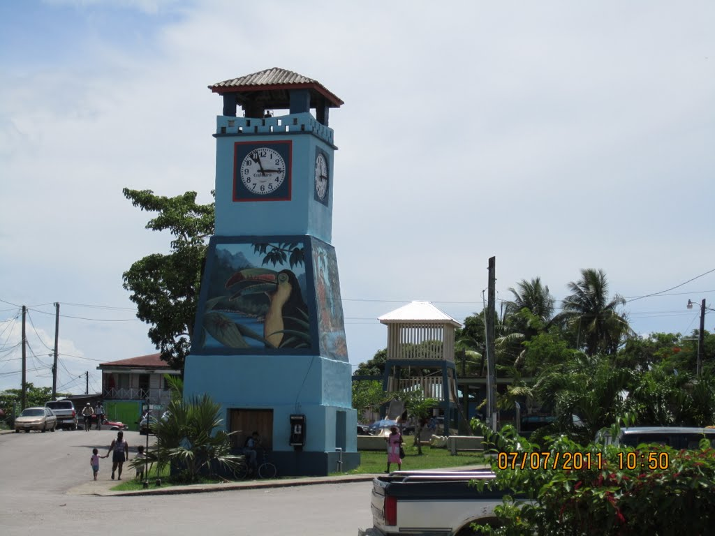 Clock tower in downtown PG