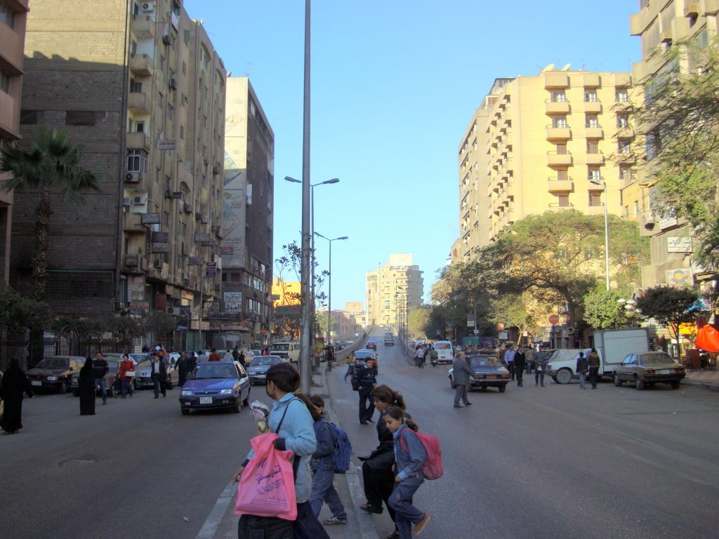 Rabie Al Gizi street & Giza square bridge in the afternoon, view to the north