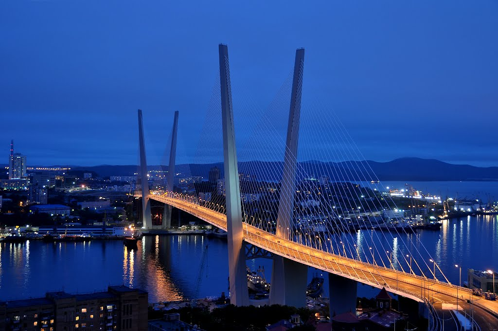 View to cable-stayed Zolotoy bridge