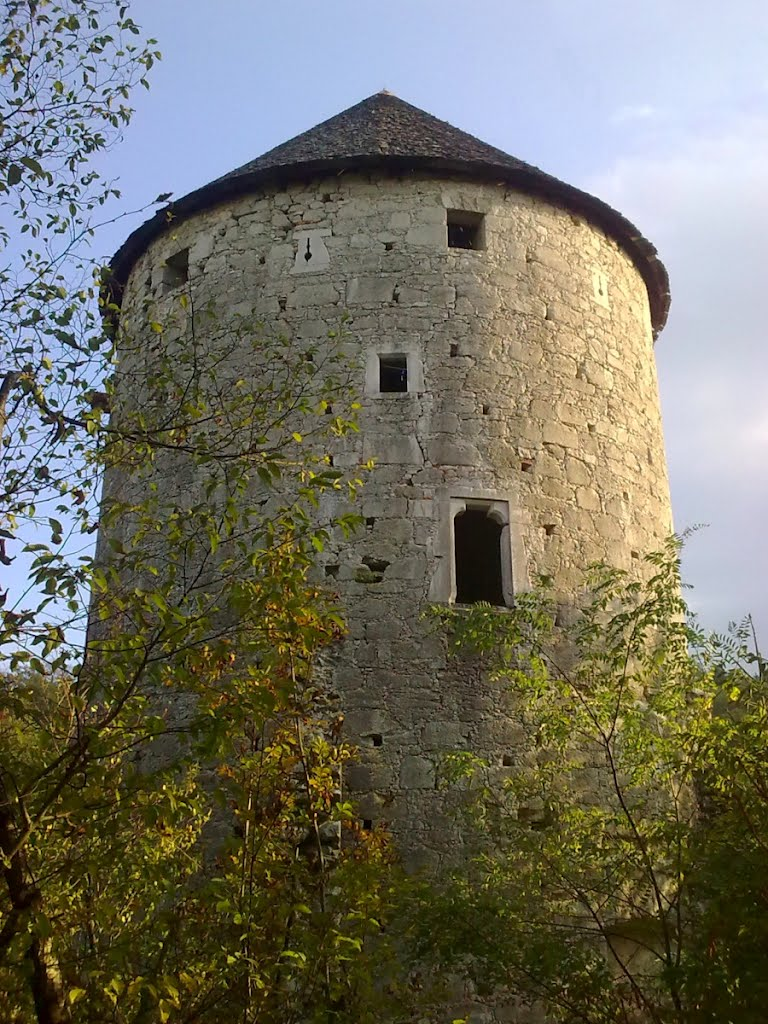 The tower of Ravbar nearby the Planina Cave